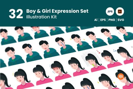 gitaset_32-boy-girl-expression-set